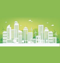 paper cut eco city green urban landscape vector image