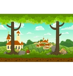 Parallax cartoon country horizontal landscape vector