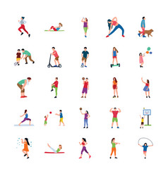 People in park flat icons set vector