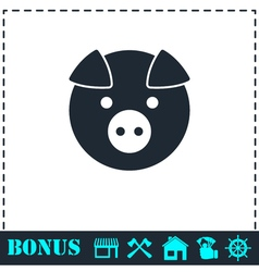 Pig icon flat vector