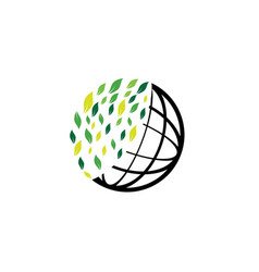 planet lines with leaves world envirenment care vector image