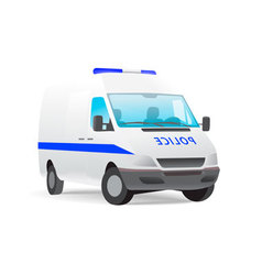 Police van isolated on white vector
