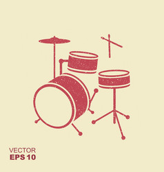 red silhouette of drum in simple style with vector image