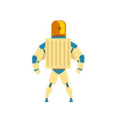Robot cyborg superhero costume back view vector