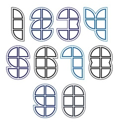 Rounded bright technical numbers created from vector