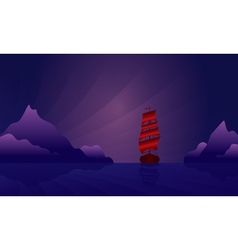 Sailing ship on the night skyline vector image