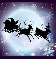 Santa moon sleigh silhouette vector
