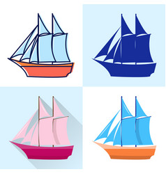 schooner icon set in flat and line styles vector image