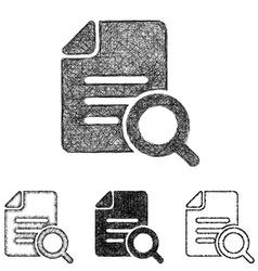 Search icon set - sketch line art vector image
