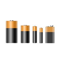 Set alkaline batteries and 9 volt battery vector