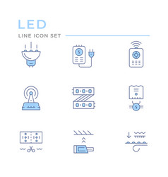 set color line icons led equipment vector image