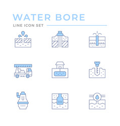 Set color line icons water bore vector