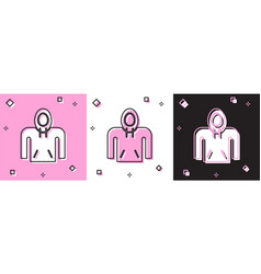 Set hoodie icon isolated on pink and white black vector