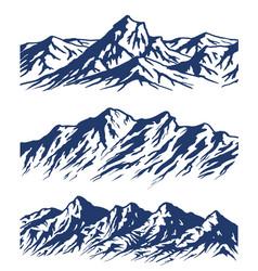 Set mountain range silhouettes vector