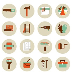 Set of flat working tools icons Repair their own vector