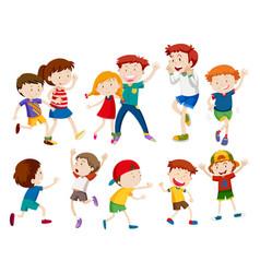 Set of happy children vector