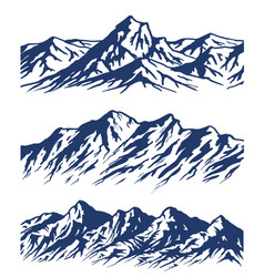 Set of mountain range silhouettes vector