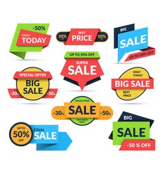 set sale stickers isolated on white background vector image