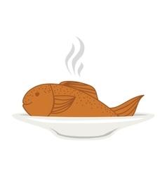 Silhouette colorful dish with hot fish vector