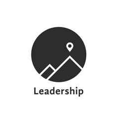 Simple black leadership icon with pin vector