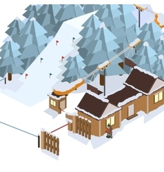 Ski resort mountain landscapes isometric vector