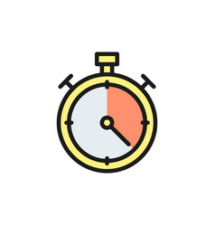 stopwatch flat color icon isolated vector image