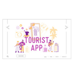 Tourists app concept for landing page template vector