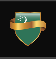 Turkmenistan flag golden badge design vector