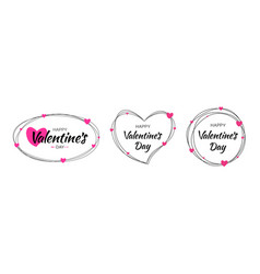 valentines day card line frames with pink hearts vector image