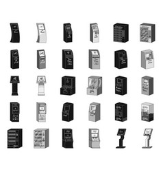 variety of terminals blackmonochrome icons in set vector image