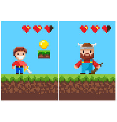 viking character and heroic male pixel game set vector image
