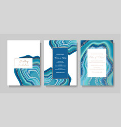 Wedding cards marble template covers design vector