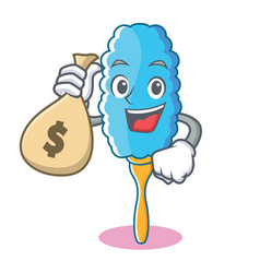 with money bag feather duster character cartoon vector image