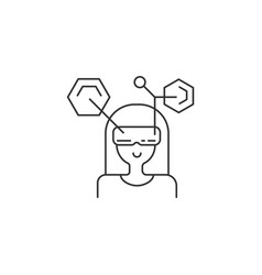 woman in vr grasses virtual reality icon concept vector image