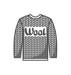 Wool emblem with knitted sweater label for hand vector