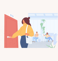 Worker leaving work on time flat vector