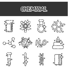 chemical concept icons vector image vector image