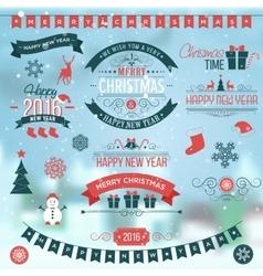 Christmas set labels emblems on winter background vector image vector image
