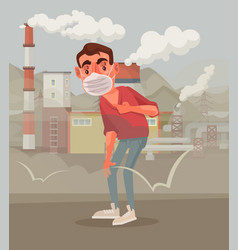man protective mask polluted air vector image