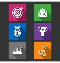 Business winner icons set vector