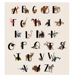 Cute animal alphabet set for kids vector image