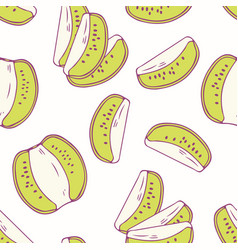 hand drawn seamless pattern with kiwi vector image vector image