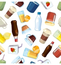 Non-alcoholic beverages drinks seamless vector image