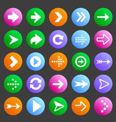 Flat and round arrow icons vector image