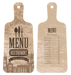 menu for the restaurant in the form cutting board vector image