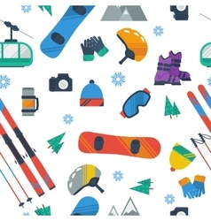 Seamless Pattern - Winter sport items vector image vector image