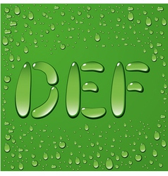 Water drop letters on green background 2 vector image vector image