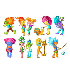 cartoon funny troll characters set vector image
