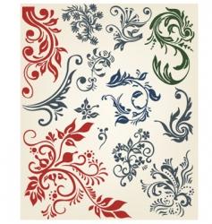 floral decoration elements vector image vector image