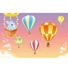 Hot air balloons in the sky with bunny vector image